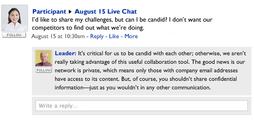 Live chat between participant and leader