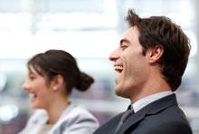 Laughing focus group participants