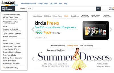 Screenshot of vertical navigation on the amazon.com website