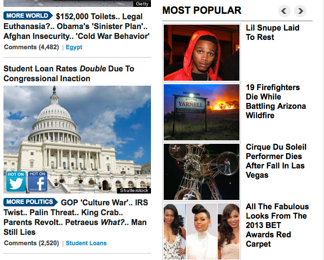 Popular links from the Huffington Post