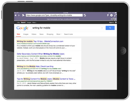 Google example of keywords