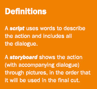 Definitions: A script uses words to describe the action and includes all the dialogue; A storyboard shows the action (with accompaning dialogue) through pictures, in the order that it will be used in the final cut.