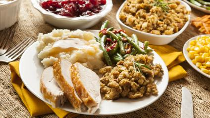 Turkey and stuffing dinner