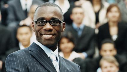 Confident smiling leader