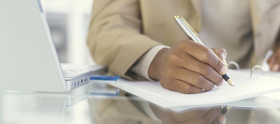 man writing simplified message