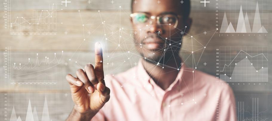 Employee tapping on virtual screen